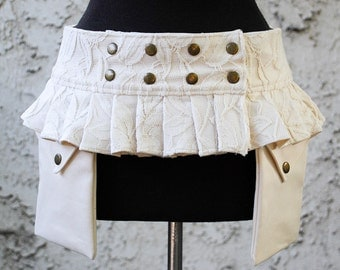 Ivory and Lace Twill Utilty Belt w/ 2 Pouches, Mini Skirt Style, Reversible to Solid Ivory, Custom Made for Women