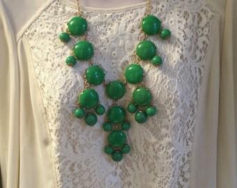 Oversized Kelly Green  Bubble Bib Chunky Beaded Chandelier Statement Necklace