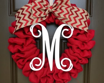 Christmas Wreath - Valentines - Christmas Decor - Winter Wreath - Burlap Wreath - Door Wreath - Everyday Wreath - Door Decor - Monogram
