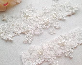 Rustic wedding Garter - White Wedding Garter Set - Bridal Garter-Keepsake garter *6*#