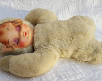 Vintage Rubber faced plush  baby doll
