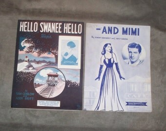 """Sheet Music lot of 2, """" Hello Swanee Hello"""" also """" -And Mimi"""", 1926 and 1957"""