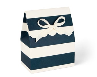 Favor Boxes, Navy and Ivory Stripe with Ivory Ribbon // set of 8