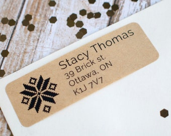 knitting snowflake return address label sticker brown kraft