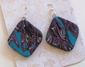 Turquoise, Pink, and Gray Lightweight Polymer Clay Earrings by Carol Wilson of Je t'adorn