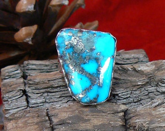 Sterling Silver and High Grade Morenci Turquoise Ring, Size 12 US, 45 carat