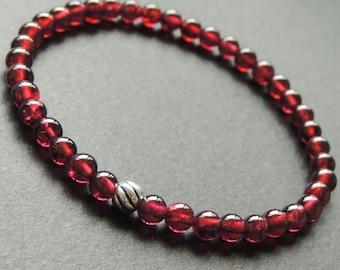 Men's Women Garnet Sterling Silver Bracelet AAA Gemstone 925 Round Bead DiyNotion Handmade BR620
