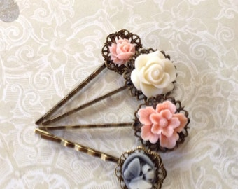 Set of 4 Pastel Floral Hair Clips
