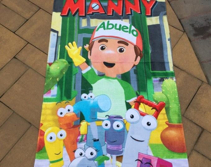 Handy Manny Cotton Velour Beach Towel Personalized Beach Towel