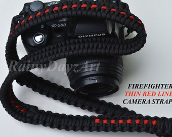 DSLR  First Responder Handmade Paracord Camera Strap ~ Thin Blue Line/Thin Red Line/Thin White Line ~ Great Photographer Gift