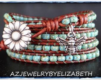 Wrap Bracelet, Seed Bead Bracelet, Leather Bracelet, Leather Wrap, Beaded Wrap Bracelet. #85