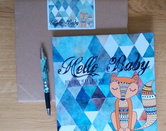 Baby record book and pen set. Little Fox baby book.