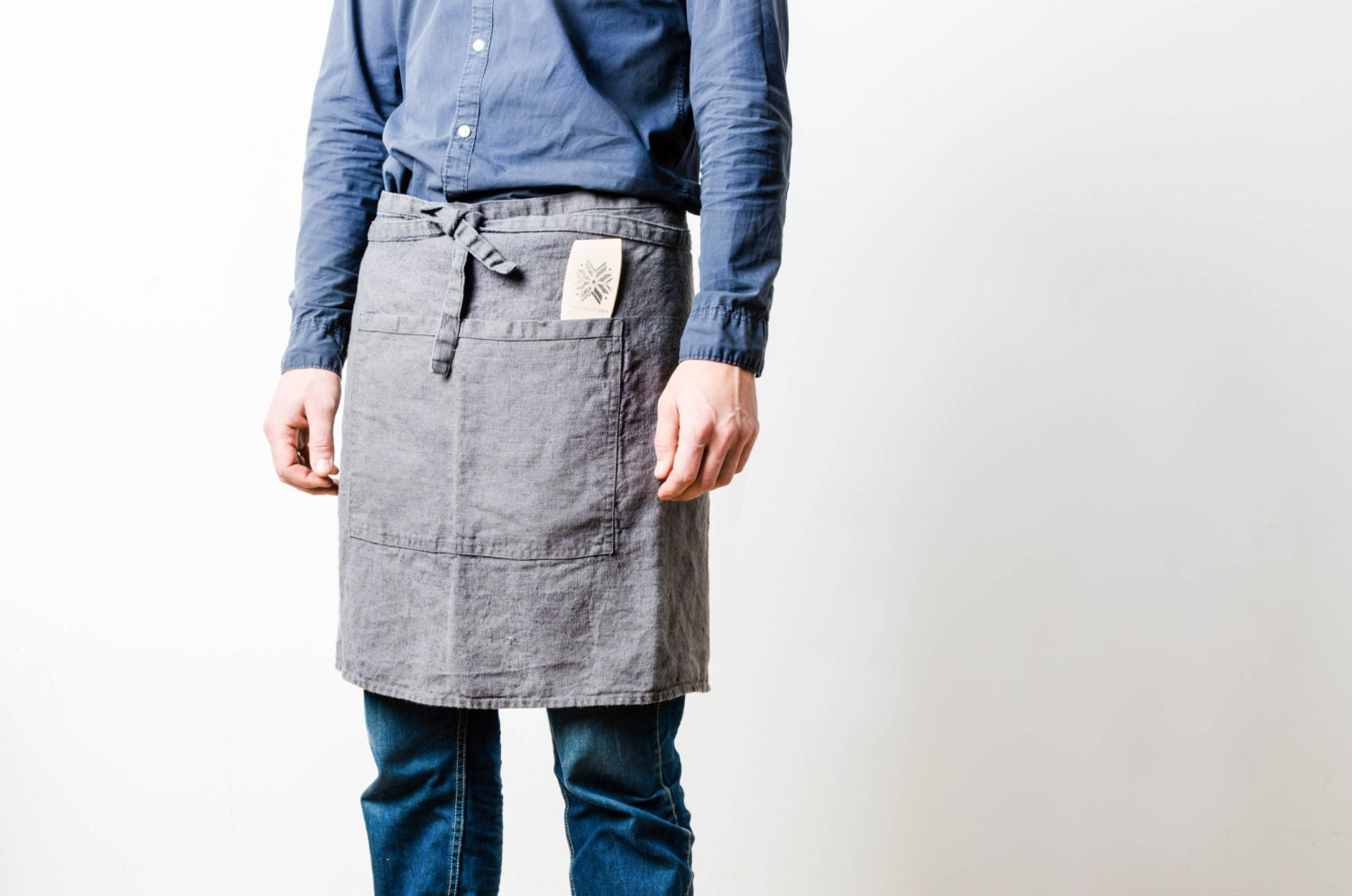 linen apron washed dark greygraphite natural by