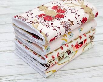 Baby Burp Cloths Set of 5, Baby Gift, Baby Shower, Newborn Burp Cloths, Gender Neutral Burpcloths, Rabbit Burpcloths, Butterfly Burp Cloths