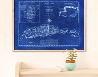"Rattan Island map 1775, Old map of Ruatan (Roatan) Island of Honduras up to 48x36"" (120x90 cm) also in blue - Limited Edition of 100"