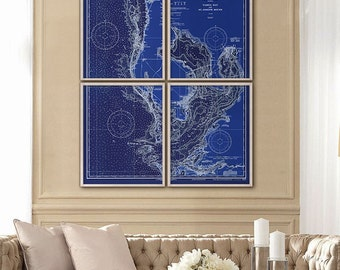 "Tampa Bay map 1932, XL nautical chart of Tampa Bay, St Petersburg, in 6 sizes up to 60x72"" in 1 or 4 parts - Limited Edition of 100"