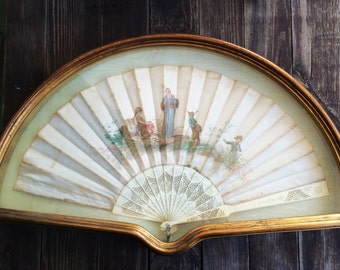 Antique Hand Painted Silk hand Fan, Figures in Landscape, Victorian, Italian, 1800's, Chinese scene, carved bone handle, framed