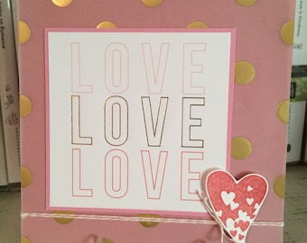 6x6 Love Card in Gold/Pink/White on Vellum - Love You Just the Way You Are