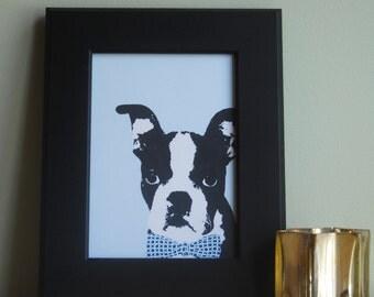 Boston Terrier Print, Boston Terrier Art, Boston Terrier Illustration, Boston Terrier Pet Portrait, Boston Terrier