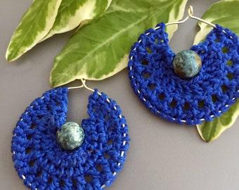 Blue Hoops with Jasper Beads
