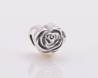 Rose Heart Locket Charm, 925 Sterling silver, With cz inside