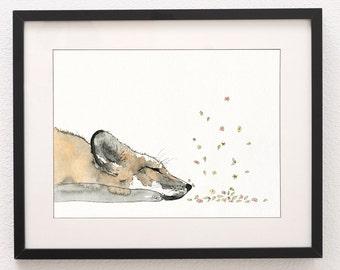 A3 Sleeping Fox Art Print, Art Print, Fox Art, Wall Art, Water Colour Print, Fox, Nursery Art, Nursery Print, Fine Art Print
