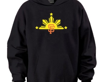 San Francisco Giants Filipino Sun Bridge City Bay Area Hoodie Black & Orange