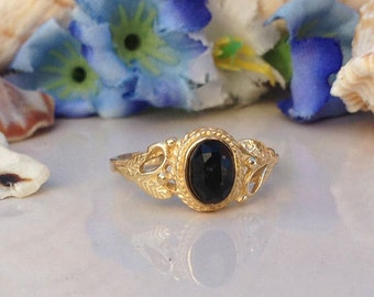 20% off-SALE!! Black Onyx Ring - Genuine Gemstone - Gold Ring - Tiny Simple Jewelry - Delicate Ring - Lace Ring - Filigree Ring
