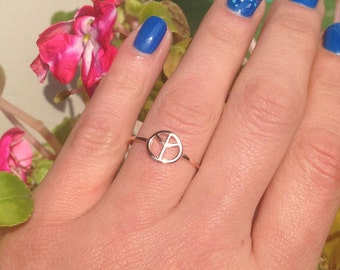 20% off-SALE!!! - Gold Peace Ring - Stacking Ring - Peace Sign Jewelry - Peace Symbol - Simple Ring - Tiny Ring - Friendship Gift