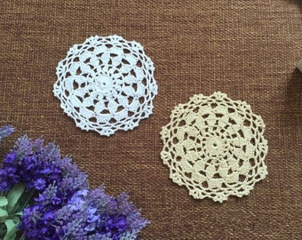 Lot of 12 pcs ~ Vintage look hand crocheted doilies round, handmade table mats for home/ wedding decor ~ Approx. 15cm round doily on sales