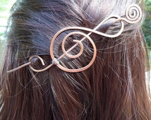 Hair Slide Treble Clef Barrette Bun Holder Clip Accessories, Shawl Sweater Scarf Pin Clip Brooch, Music Note Brooch, Treble Clef Fibula
