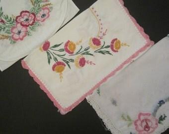 Vintage Runner Lot of 3 - Pink Floral