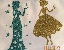 Frozen Anna & Elsa Glitter Vinyl Shirt,Custom Frozen Vinyl Shirt,Girls Frozen Vinyl Shirt,Glitter Vinyl Anna Elsa Shirt,Toddler Vinyl Shirt