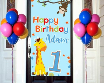 First Birthday Animals Door Banner  ~ Personalized Door Birthday Banner -Jungle Animals Birthday Party Banner