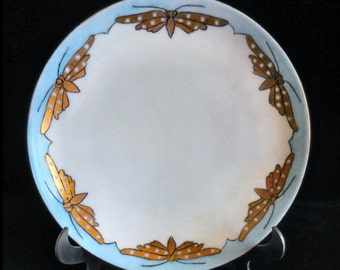 Thomas Sevres Porcelain Hand Painted Plate with Craftsman Style Moths or Buttlerflies - Bavaria circa 1905