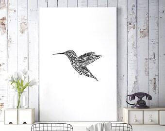 Minimalist Poster, Black and White Hummingbird Art, Bird Print, Animal Drawing, Sketch Art, Digital Download, Wall Printable Art, Wall Decor
