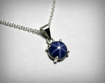 Created Blue Star Sapphire Necklace Pendant, Sterling Silver, Linde Star Sapphire, Blue Star Necklace, Blue Silver Necklace, Blue Sapphire