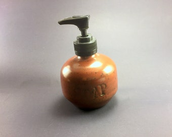 Soap/Lotion Dispenser with Iron Red Glaze