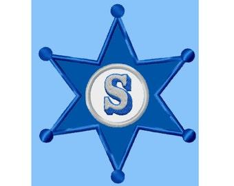 Sheriffs Badge...Applique Machine Embroidery DESIGN NO. 738
