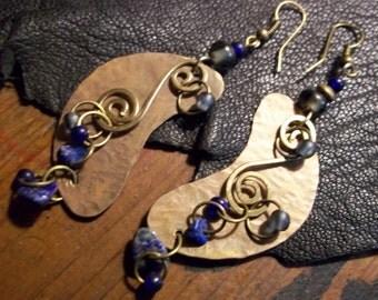Bohemian Earrings-Rustic Copper Earrings-Mixed Metal Earrings-Artisan Earrings-Boho Jewelry