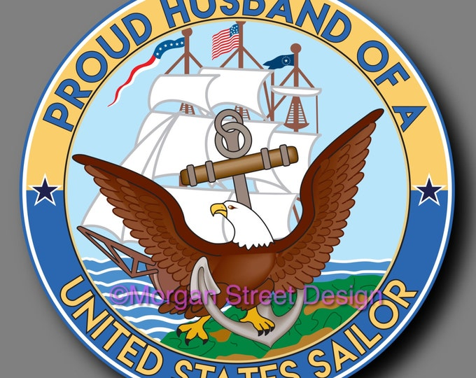 US Navy Sailor Husband Die Cut Vinyl Decal Sticker