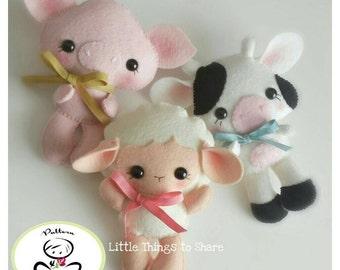 Farm Babies-Set of Three Farm Animals-PDF files-sewing pattern-Sheep-Cow-Pig-Farm Animal ornaments-Nursery decor-Baby's mobile toy