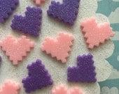 Pixel Heart Cabochons - Resin Glitter Heart Flatbacks - Pink and Purple Hearts
