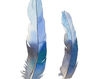 Blue feather print from watercolour painting - vertical wall art made in Australia  - A4 poster - peaceful home decor - kids room wall art