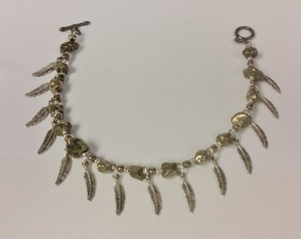 Pyrite, feather anklet