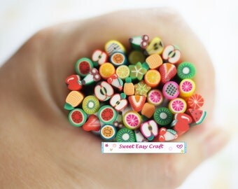 5/10/20pcs Assorted Fruit Polymer Clay Stick Fimo Cane DIY phone decor nail Jewelry supplies finding earring necklace finding Cute