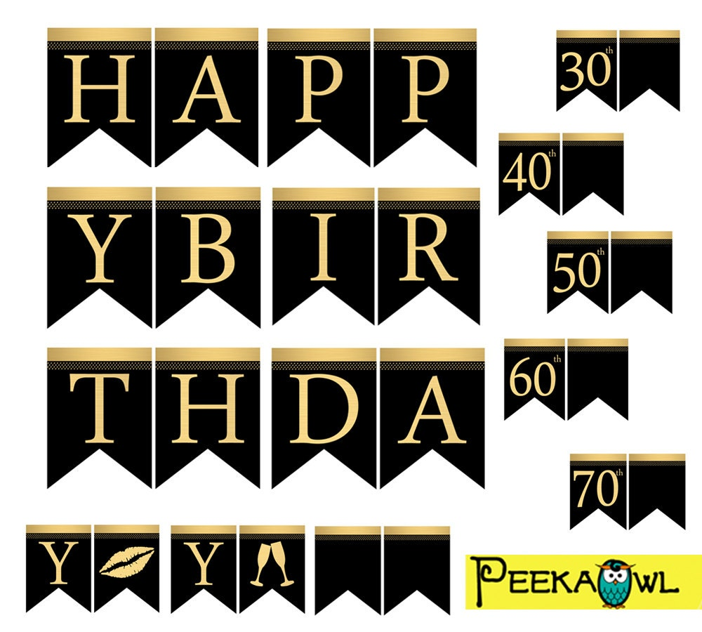 Instant Download Black Gold Birthday Banners Printable Happy