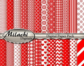 70% OFF SALE Red Digital Paper Pack, Scrapbook Papers, Commercial Use - Instant Download - M135