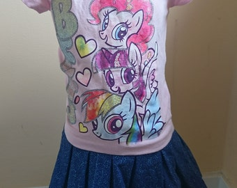 My Little Pony Dress - Pink blue My Little Pony BFFs toddler t-shirt party dress with Pinkie Pie Rainbow Dash and Twilight Sparkle size 2T