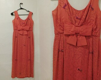 Vintage 50's Coral Pink Crystal Beaded Fully Embellished Sleeveless Floor Length Gown - Size Medium